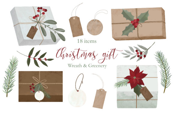 Christmas Gift Box Clipart Graphic Illustrations By lena-dorosh