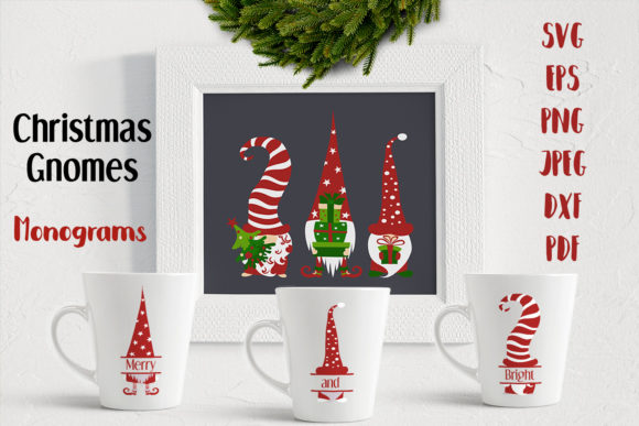 Christmas Gnomes. Monograms. SVG Cutting Graphic Crafts By inkoly.art