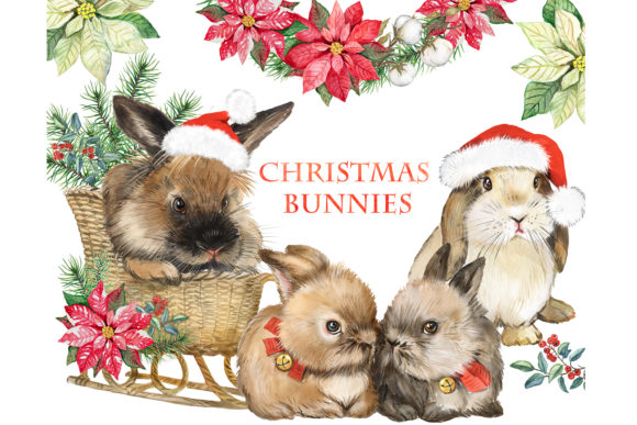 Christmas Rabbits Watercolor Clipart. Ch Graphic Illustrations By EvArtPrint