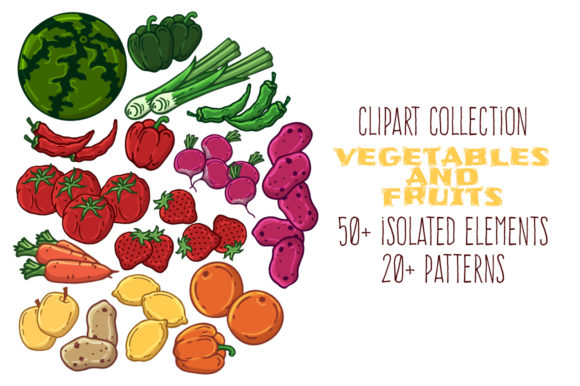 Clipart of Jars: Vegetables and Fruits. Graphic Illustrations By pomelkomy