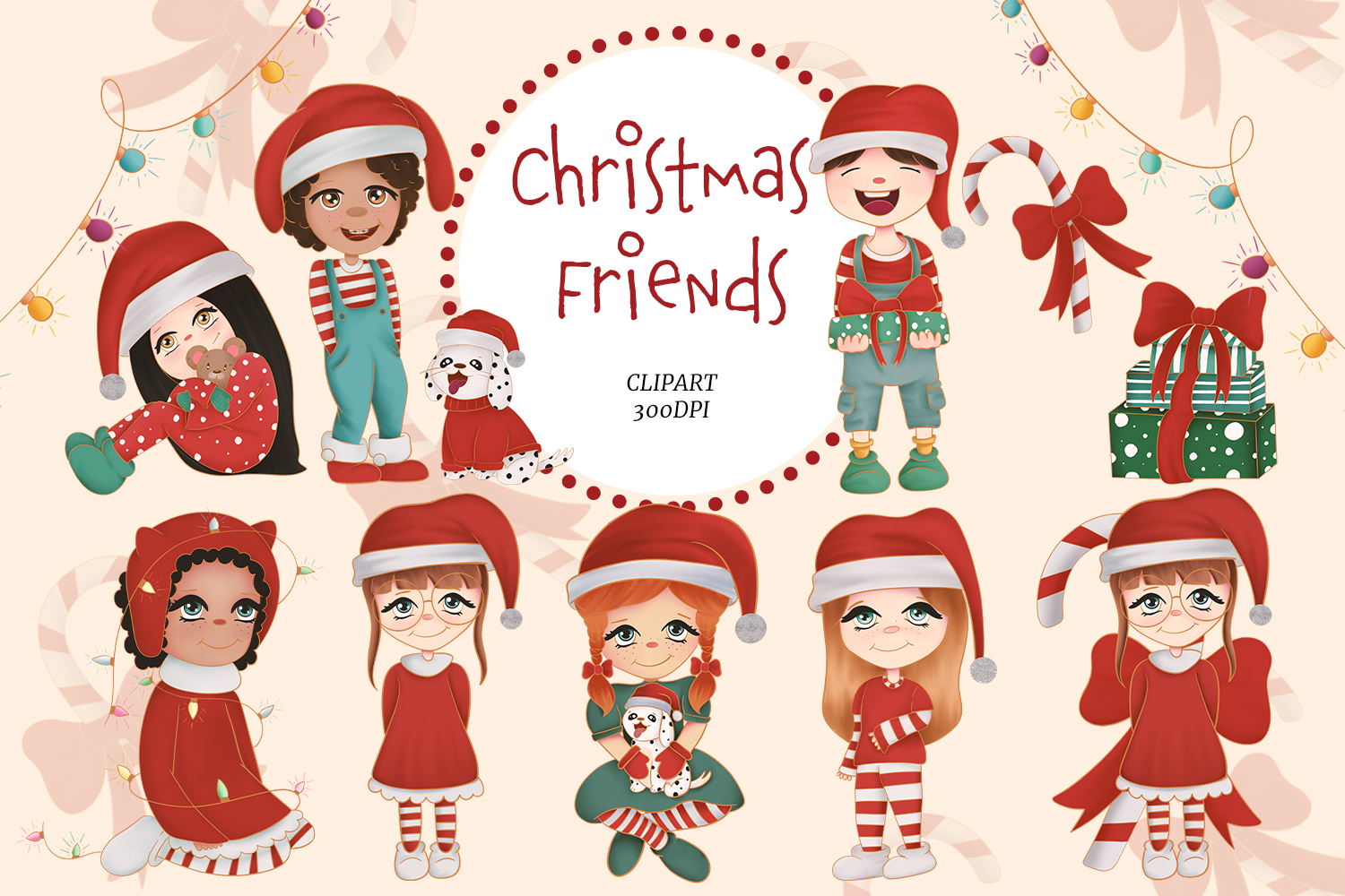 cute christmas clipart and digital paper graphic by studioangelarts creative fabrica cute christmas clipart and digital paper