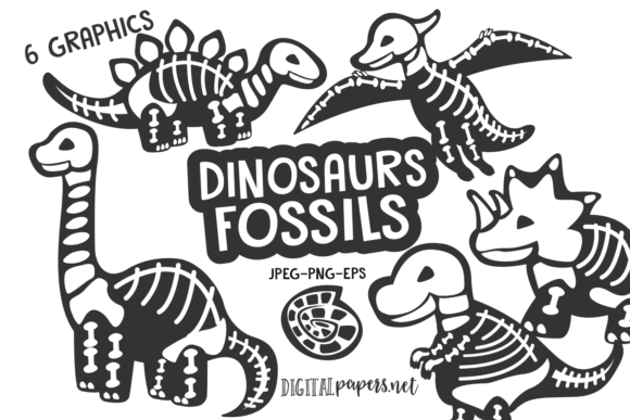 Print on Demand: Dinosaurs Fossils Graphic Illustrations By DigitalPapers