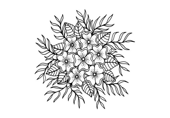 Doodle Flowers, Hand Drawing Graphic Coloring Pages & Books By Santy Kamal