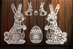 Print on Demand: Easter Bunny and Ornate Easter Egg Graphic Crafts By yulnniya