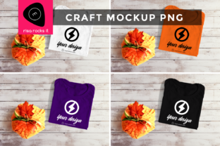Folded Tee with Pumpkin Craft PNG Mockup Graphic Product Mockups By RisaRocksIt
