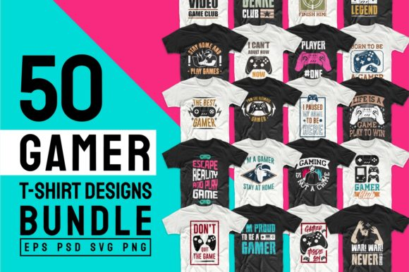 Print on Demand: Gaming and Gamer T-Shirt Designs Bundle Graphic Print Templates By Universtock