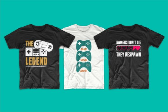 Gaming and Gamer T-Shirt Designs Bundle Graphic Graphic