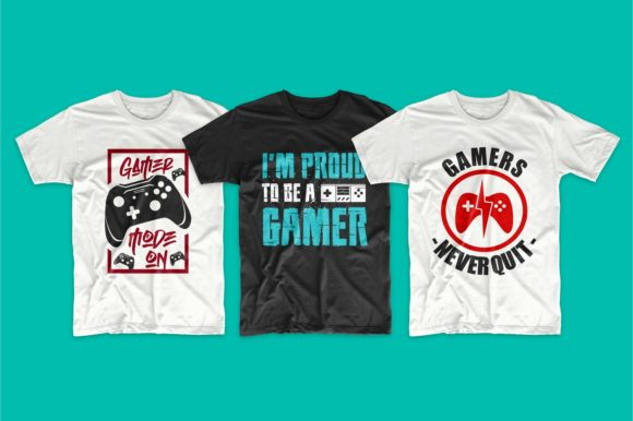Gaming and Gamer T-Shirt Designs Bundle Graphic Preview