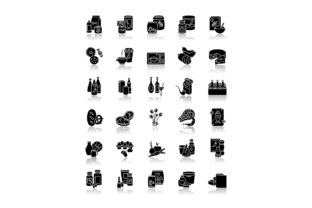 Print on Demand: Groceries Category Drop Shadow Icons Set Graphic Icons By bsd studio