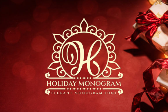 Print on Demand: Holiday Monogram Decorative Font By Graphicxell
