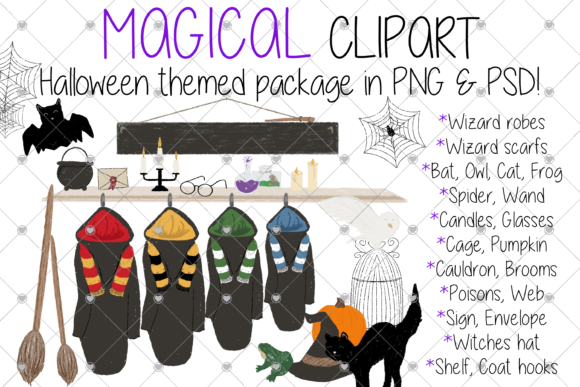 Print on Demand: Magical, Magic, Wizard, Witch, Halloween Graphic Illustrations By CommercialCliparts