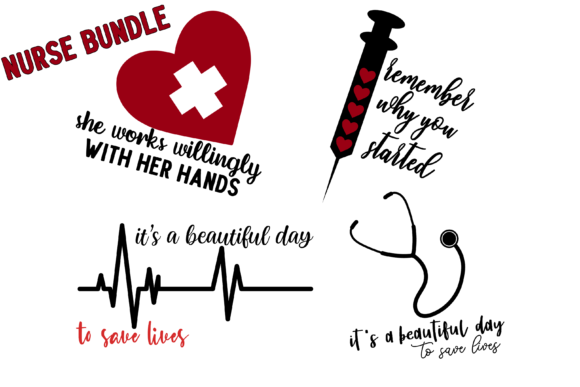 Print on Demand: Nurse Bundle, Nurse Pack, Nurse Svg Png Graphic Print Templates By inlovewithkats