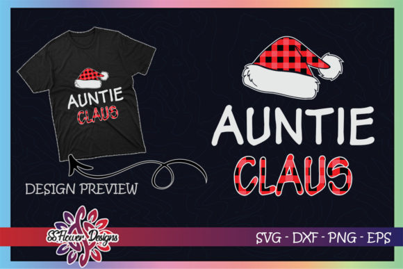Red Plaid Auntie Claus - Matching Family Graphic Print Templates By ssflower