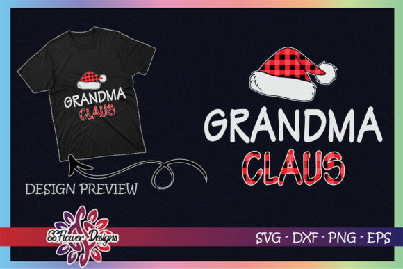 Red Plaid Grandma Claus Matching Family Graphic Print Templates By ssflower