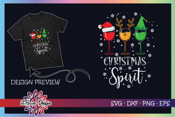 Red Wine Glasses Christmas Spirit Graphic Print Templates By ssflower