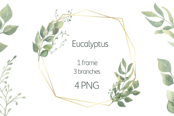 Watercolor Greenery Frame Clipart. Graphic Illustrations By olesiafrolowa