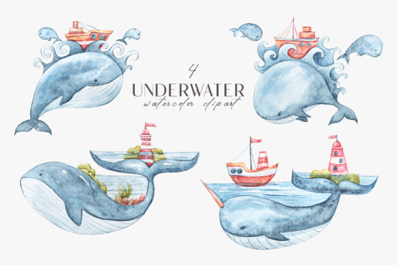 Print on Demand: Whale Clipart. Watercolor Nursery Whales Graphic Illustrations By Tiana Geo
