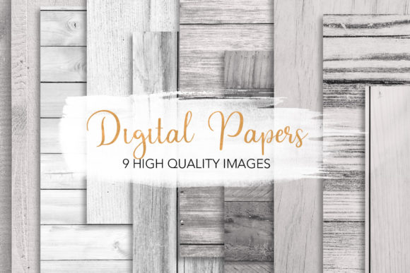 Print on Demand: White Wood Texture Backgrounds Grafik Hintegründe von loyaarts