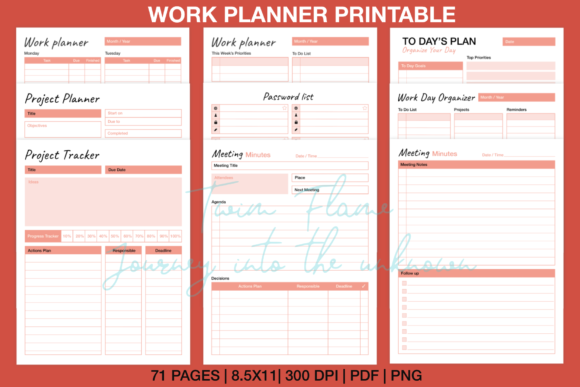 Print on Demand: Work Planner Printable Download Graphic KDP Interiors By Twin Flame Journey into the unknown