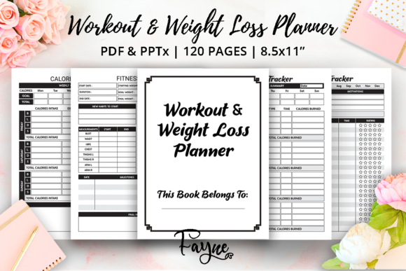 Workout & Weight Lose Planner |  KDP Graphic