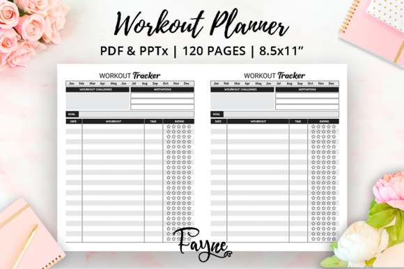 Workout & Weight Lose Planner |  KDP Graphic Download