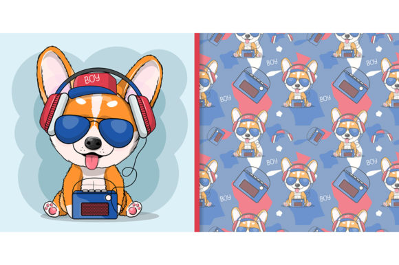 Dog Corgi Listening Music with Headphone Graphic Illustrations By maniacvector