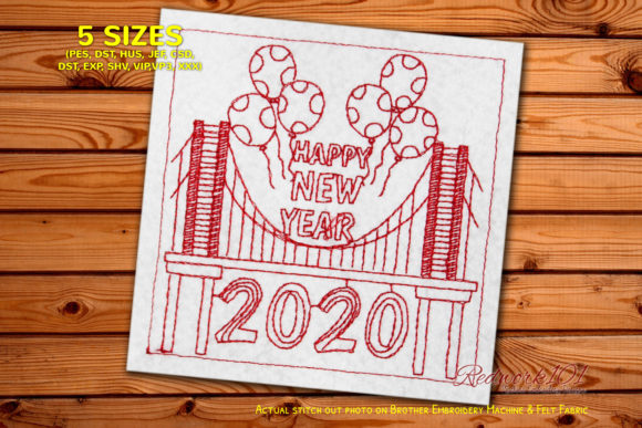 2020 New Year on Bridge Redwork Design Backgrounds Embroidery Design By Redwork101