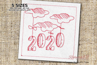2020 Year Year Cloud Design Cities & Villages Embroidery Design By Redwork101