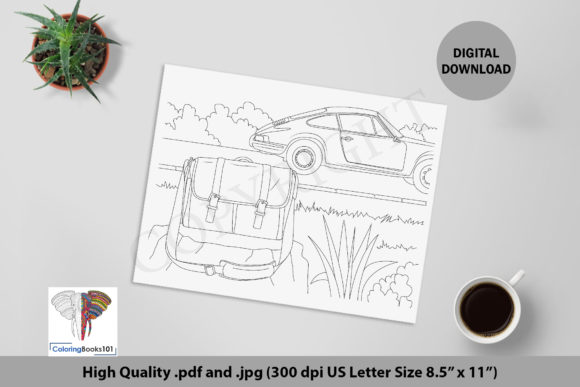 A Bag and the Car on the Road Coloring Graphic Coloring Pages & Books Adults By ColoringBooks101