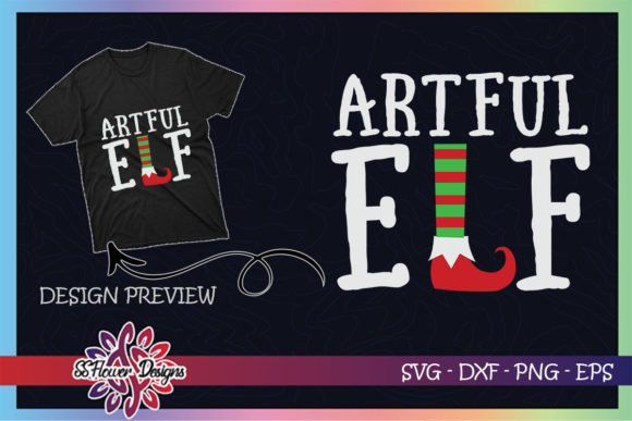 Artful ELF Christmas Graphic Print Templates By ssflower
