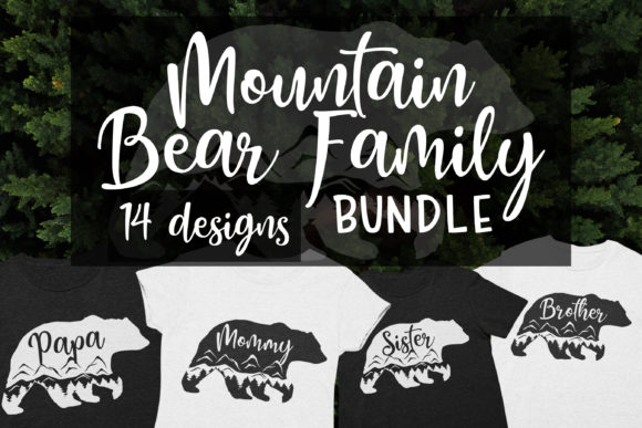 Bear Family  Mountain Bear Clipart Graphic Illustrations By Brushed Rose