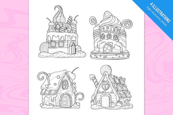 Candy Houses Coloring Pages Graphic Coloring Pages & Books Adults By Cmeree