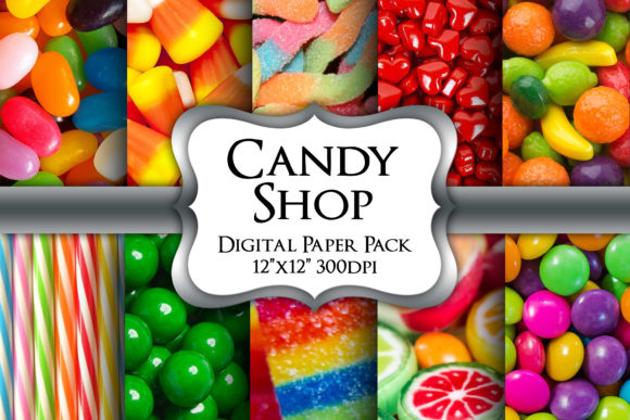Print on Demand: Candy Shop Digital Paper Pack Grafik Hintegründe von Party Pixelz