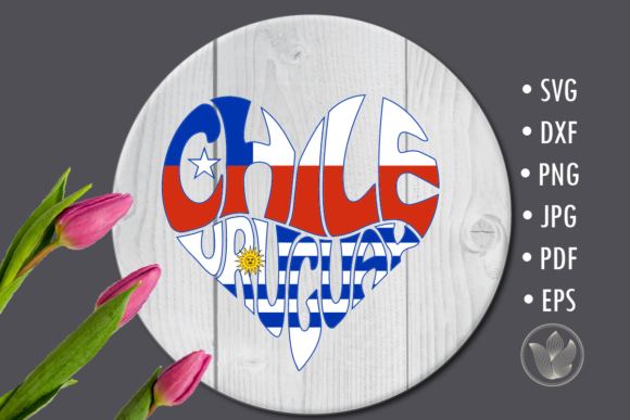 Chile Uruguay Heart , Sublimation Design Graphic Crafts By PrettyDD