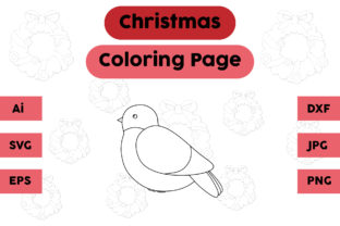 Christmas Coloring Page - Bird 01 Graphic Coloring Pages & Books Kids By isalsemarang