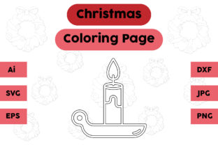 Christmas Coloring Page - Candle 04 Graphic Coloring Pages & Books Kids By isalsemarang