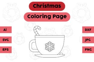 Christmas Coloring Page - Drink Cup 01 Graphic Coloring Pages & Books Kids By isalsemarang