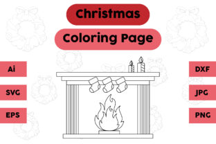 Christmas Coloring Page - Fireplace 02 Graphic Coloring Pages & Books Kids By isalsemarang