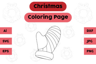 Christmas Coloring Page - Gloves 09 Graphic Coloring Pages & Books Kids By isalsemarang