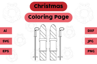 Christmas Coloring Page - Ice Skating 02 Graphic Coloring Pages & Books Kids By isalsemarang