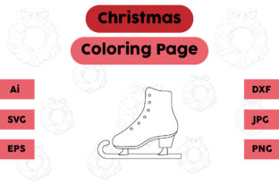 Christmas Coloring Page - Ice Skating Graphic Coloring Pages & Books Kids By isalsemarang