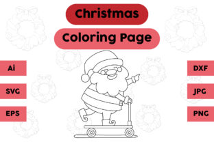 Christmas Coloring Page - Santa Claus 06 Graphic Coloring Pages & Books Kids By isalsemarang