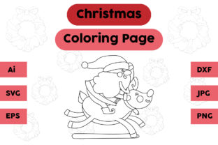 Christmas Coloring Page Santa Claus Deer Graphic Coloring Pages & Books Kids By isalsemarang