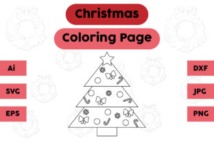 Christmas Coloring Page - Tree 07 Graphic Coloring Pages & Books Kids By isalsemarang