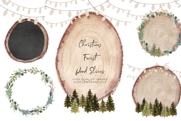 Print on Demand: Christmas Forest Clipart, Wood Slice Grafik Illustrationen von SunflowerLove