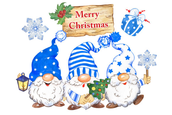 Christmas Gnomes Clipart, Blue Hats Graphic