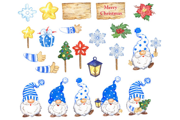 Christmas Gnomes Clipart, Blue Hats Graphic Download