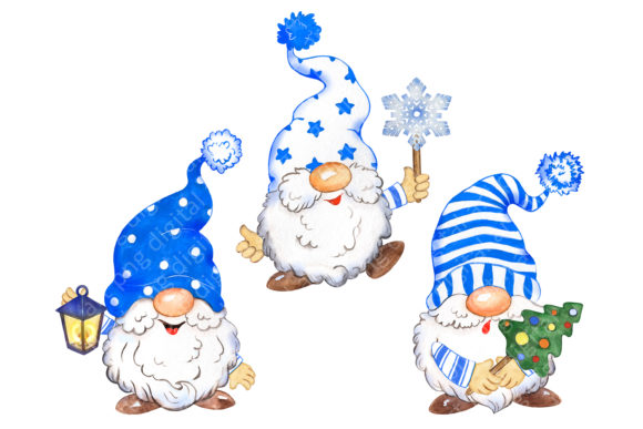 Christmas Gnomes Clipart, Blue Hats Graphic Item