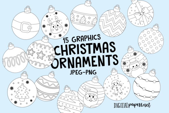 Print on Demand: Christmas Ornaments Outlines Grafik Illustrationen von DigitalPapers