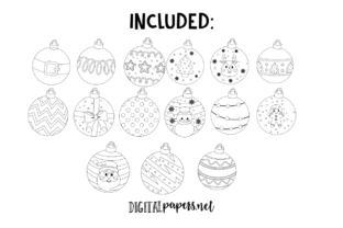 Christmas Ornaments Outlines - 2